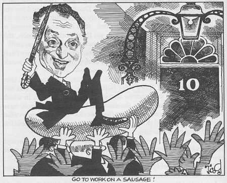 Cartoon of Jim Hacker becoming PM (Party Games)