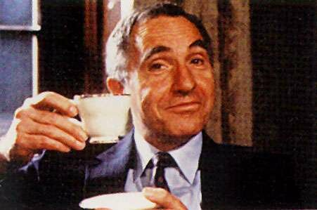 Famous still of Sir Humphrey holding a tea cup